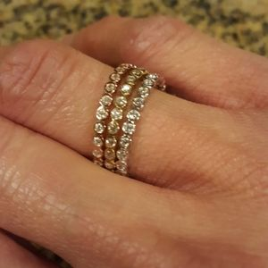 NWT 3 Tones 925 SS Stackable Eternity Rings
